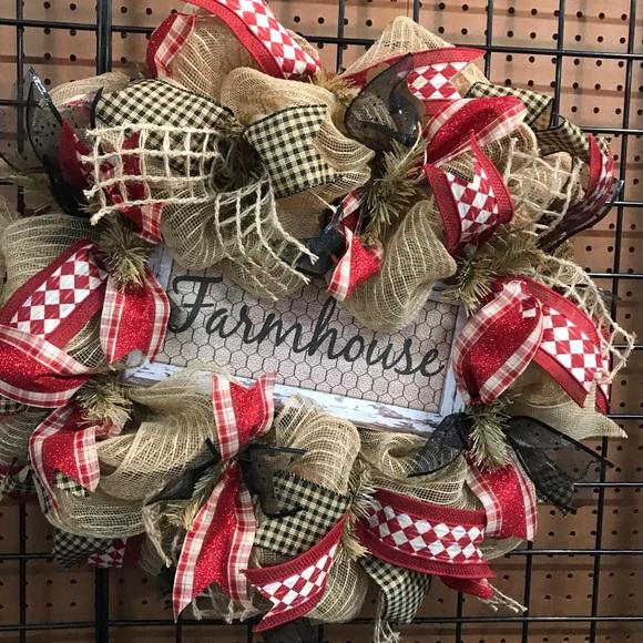 Holiday Handmade Farmhouse Front Door Wreath Poshmark